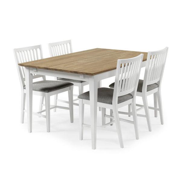 Ett fint matbord som finns i vitt och oljad ek. Matgruppen består av stolar och bord.