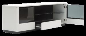 En tv-bänk i vitt och svart. Denna mediemöbel har dörrar, lådor och hyllor.