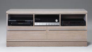 En smart tv-bänk med mycket förvaring. Mediabänken har lådor och fack.