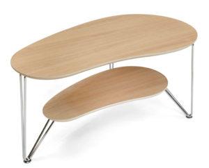 Ett fint soffbord som är njurformat. Bordet passar bra i vardagsrum.