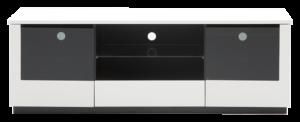 En fin tv-bänk som är svart och vit. Denna mediabänk har bra förvaring med hyllor, lådor och dörrar.