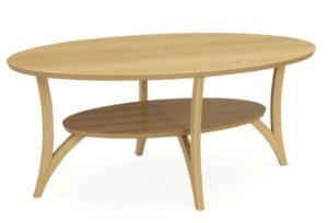 Ett fint soffbord från Kleppe. Bordet heter spinell och är här ovalt. Välj mellan dessa färger: Ek, vitfärgad ek, gråfärgad, rökfärgad, espresso valnöt och vit.