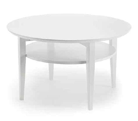 Snyggt soffbord. Välj mellan runt eller ovalt. Finns i färgerna oljad ek, vitbetsad ek, svartbetsad ek, vitoljad ek och vitlackad med skiva i oljad ek.