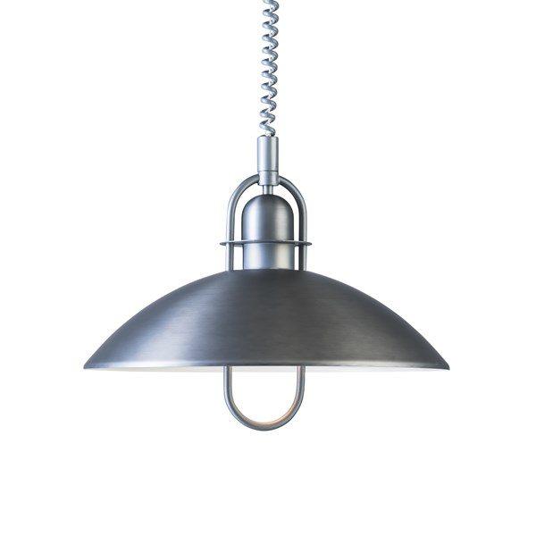 En taklampa som går att höja och sänka med den inbyggda hissen. Lampan finns i färgerna vit, svart och oxidgrå.