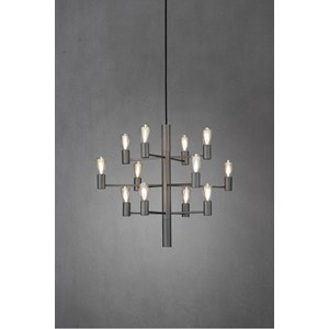 En snygg taklampa som är en modern variant av en ljuskrona. Lampan har tolv armar och passar bra i alla rum.