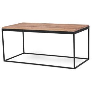 Fint soffbord med metallstomme och skiva i ek. Passar bra i vardagsrummet.