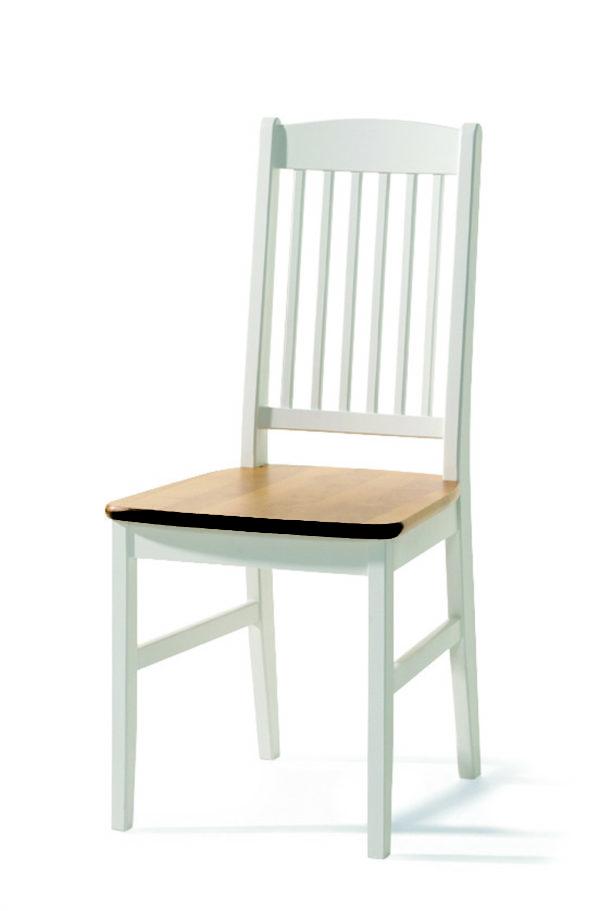 En stol i björk och vitlack som hör ihop med matbordet Boden. Allt från Torkelson.