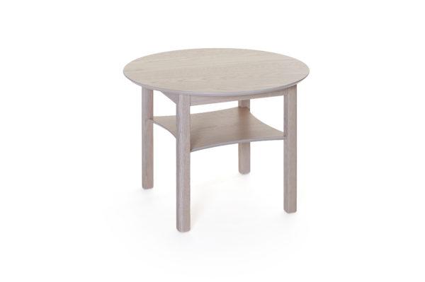 Runt soffbord från bordbirger i vitpigmeterad ek