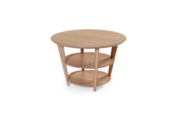 Ett runt svensktillverkat soffbord i ek från Bordbirger som heter Triathlon.Detta soffbord är just nu på rea. Rabatten gäller på ett demo ex.
