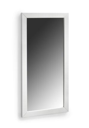 En spegel som finns i oljad ek och vitlack.