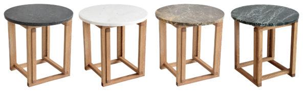 Fina soffbord som finns med skiva i ljus marmor, brun marmor och svart granit. Kombinera med valfri underdel i metall eller ek.
