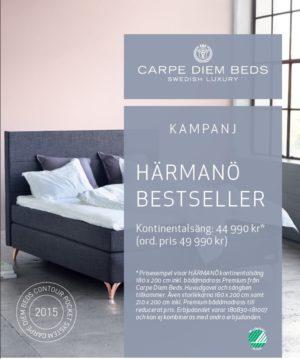 Sängen Härmanö är det just nu ett bra erbjudande på med en bra rabatt. Sängen kommer från Carpe Diem.