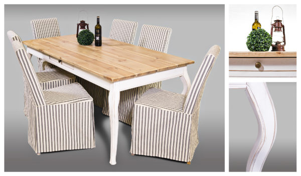 Fint matbord i furu. Bordet har en låda vilket gör att du får ytterligare förvaring. Skivan är i furu och underredet är i antikvitt.