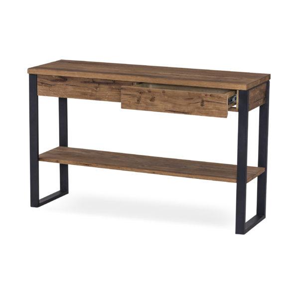 Narvik ett så kallat avlastningsbord eller avställningsbord som är i oljad ek. Bordet har underrede i svart metall. Lådor finns för bra förvaring.