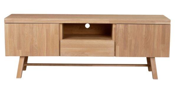 Tv bänk med två dörrar, en hylla och en låda. Denna tv -bänk heter Brooklyn och är från Rowico. Den finns i vitpigmenterade ek, ek och som mörkbrun.