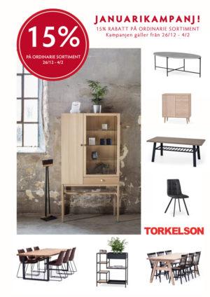 Just nu har vi rabatt på alla möbler från Torkelsons. Ett bra erbjudande med 15% rabatt på alla beställningar (gäller ej specialmått).