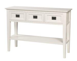 Koster från Rowico. Detta avlastningsbord är vitt med tre lådor och en hylla.