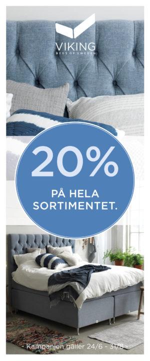 Vi säljer just nu sängar från Viking med bra rabatt. 20% på alla sängar och tillbehör. Gäller ej Balder och Limited edition.
