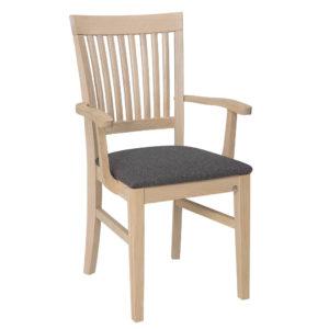Detta är karmstolen Inzel från Hans K. Stolen finns som ask blond, vit och oljad ek. Detta är modellen SP.