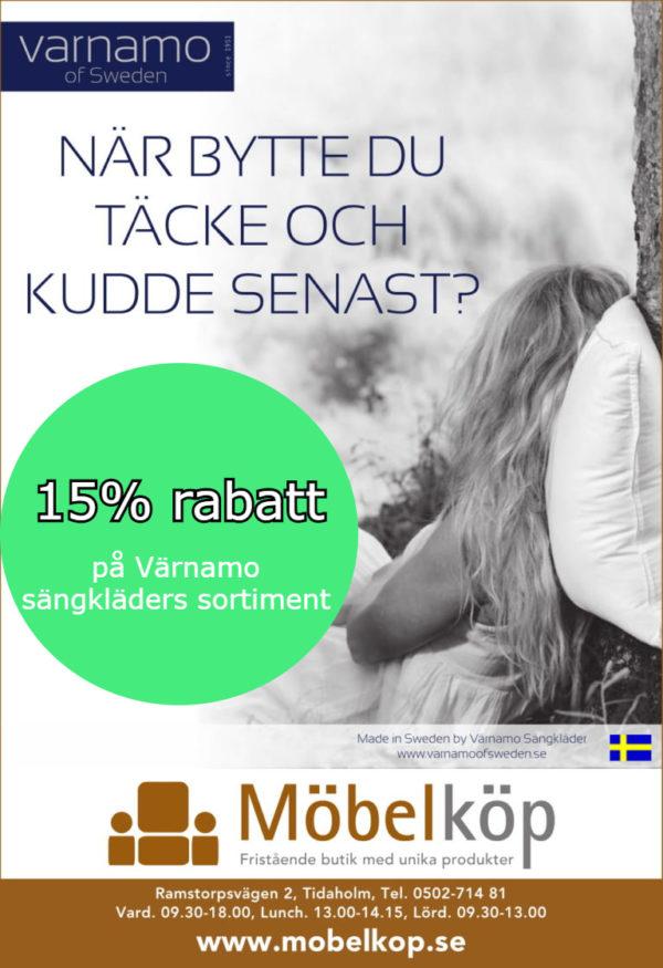 Erbjudande Nu lämnar vi 15 % rabatt på Värnamo Sängkläders sortiment