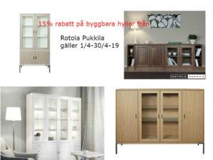 15% rabatt på byggbar hylla från Rotola Pukkila. Erbjudande som gäller Hinrik och Regal.