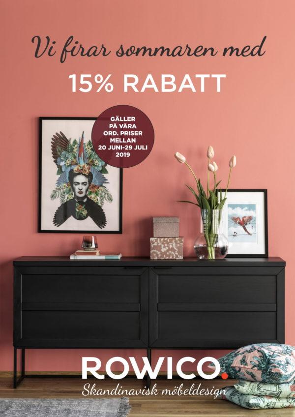 Ett bra erbjudande på Rowicos sortiment. Nu kan du köpa alla deras möbler med 15% rabatt. Allt från hallmöbler till matgrupper.