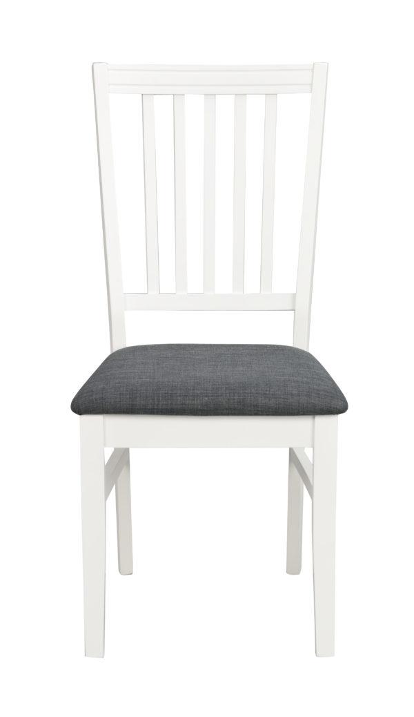Wittskär stol i vitlack med sits i grått tyg. Passar bra till matbordet Wittskär.