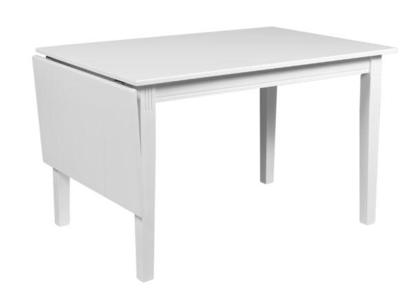 Klaffbord från Rowico vid namn wittskär. Bordet är i vitlack och finns även som ovalt bord och rektangulärt bord. Passar bra ihop med stolen Wittskär.