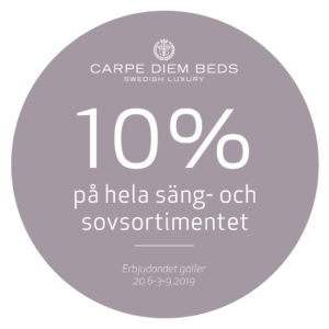Erbjudande med 10% rabatt på produkter från Carpe Diem. Erbjudandet gäller säng, bäddmadrass, gavel, ben och sängkläder.