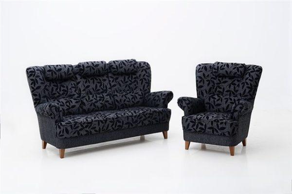Anita en öronlappsfåtölj och byggbar soffa. Fåtölj och soffa från Ermatiko och finns i skinn och tyg.