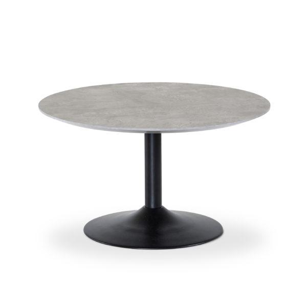 Fint bord från Torkelson. Bordet Miles finns i både betonglaminat och svart. Välj mellan storlek Ø 80 cm och Ø 110 cm. Finns som både soffbord och matbord.