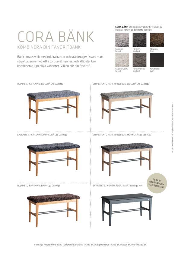 Fårskinnspall i trä med detaljer i stål. Denna bänk heter Cora och är från Oscarssons möbel.