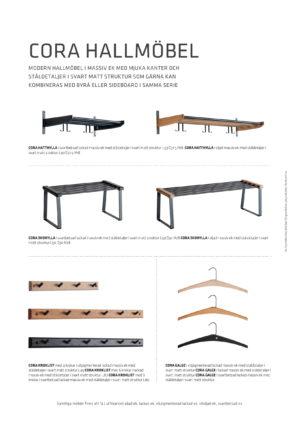 Svensktillverkade Cora är en hatthylla i matt svart stål med detaljer i trä.