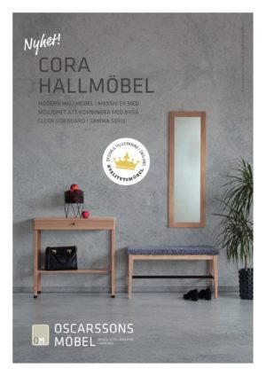 Svensktillverkad hallmöbelserie vid namn Cora från Oscarssons möbel.