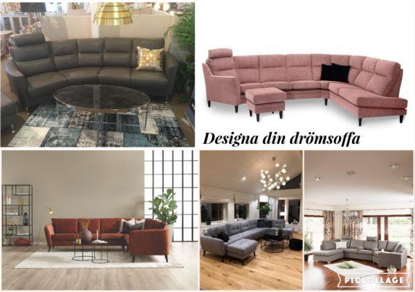 Hos oss kan du designa din drömsoffa. Alla soffor i vårt sortiment är nämligen byggbara soffor. Välj delar, och färg på tyg eller skinn så att det passar ditt vardagsrum.