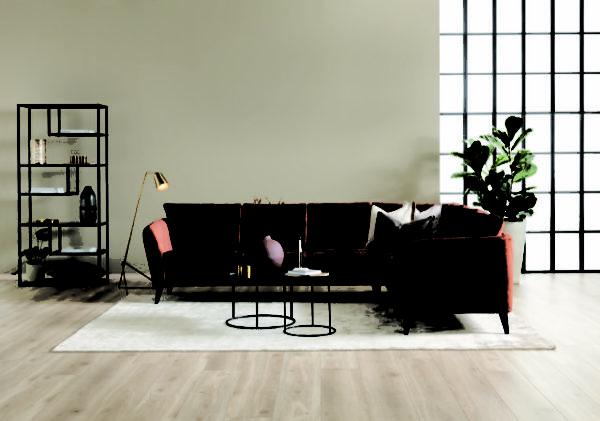 Soffan London från Troels. En byggbar soffa med retro armstöd. Denna soffa är byggbar och finns i tyg och skinn.