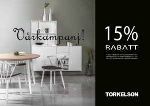Just nu har vi rabatt på alla möbler från Torkelsons. Ett bra erbjudande med 15% rabatt på alla beställningar.