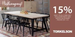 15% rabatt på alla möbler från Torkelson.