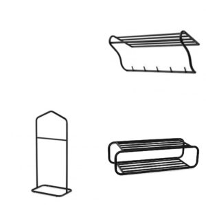 Hallmöbler ur serien Town från Torkelson. Hela serien är i svart metall. Här ser ni hatthylla, skohylla och herrbetjänt.