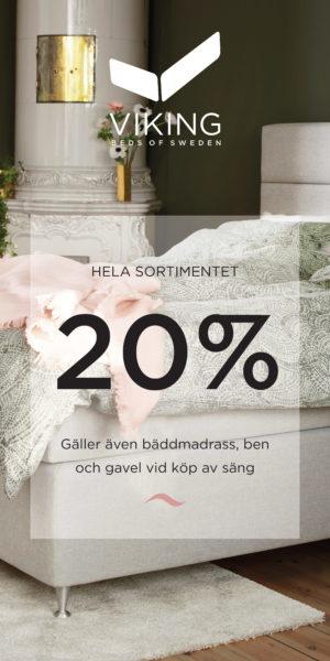 Bra erbjudande på Viking sängar. Just nu 20% rabatt på sängar och tillbehör. Gäller dock ej Balder och Limited edition.