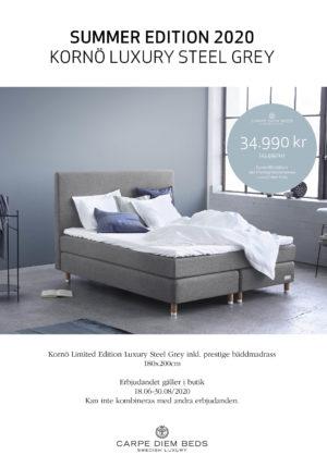 Vid köp av Kornö kontinentalsäng eller Koster ramsäng får du just nu ca 20% rabatt. Svensktillverkade sängar från Carpe Diem Beds of Sweden.
