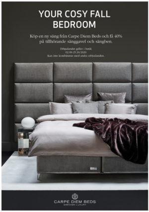 Vid köp av säng från carpe diem får du just nu köpa gavel och ben till 40% rabatt.