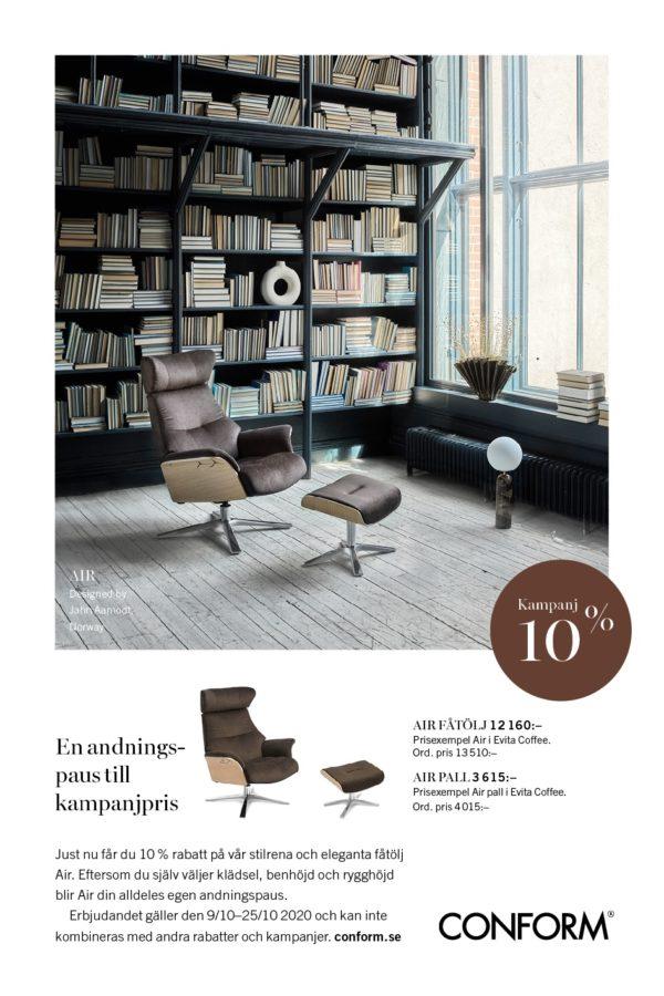 10% rabatt på reclinerfåtöljen Air från Conform.