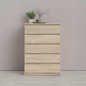 Fin byrå från Tvilum vid namn Naia. Naia har 5 djupa lådor och finns i modellerna smal (färg vit) och bred (färg ek). Passar perfekt i hall och sovrum.
