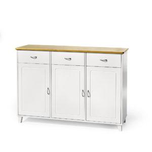 Boden är en serie köksmöbler från Torkelson. I serien ingår bred buffé, smal buffé, vitrinskåp och hörnskåp med vitrin. Alla möbler i serien är i vitt med topp i björk.