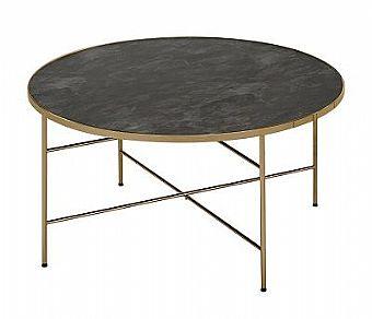 Fint runt soffbord från Sunsa. Soffbordet heter Borneo. Skivan på bordet är i glas med marmormönster. Underredet är champagnefärgat.