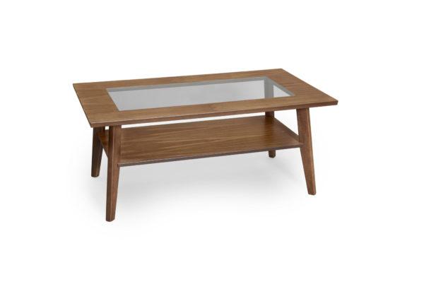 Fint soffbord i valnöt. Detta soffbord heter Kompass och har en skiva delvis i glas. Soffbordet är svensktillverkat av Bordbirger.
