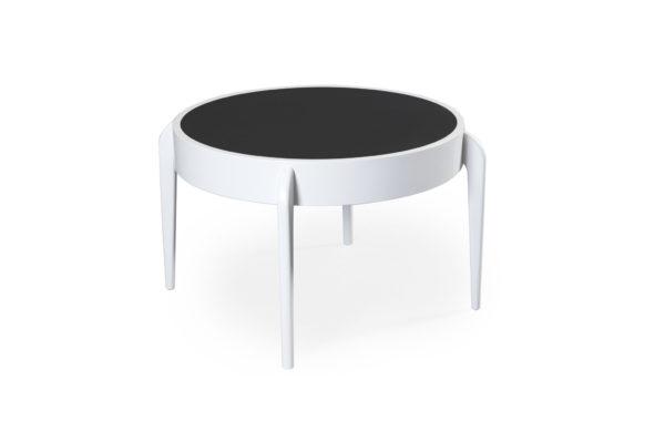Svensktillverkat soffbord från Bordbirger. Center är ett bord med vändbar skiva i laminat.