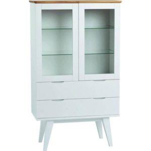 Filippa vitrinskåp vitt med ektopp är just nu på rea. Detta vitrinskåp har mycket förvaring med sina 2 lådor och 2 dörrar. Skåpet säljs med 40% rabatt.